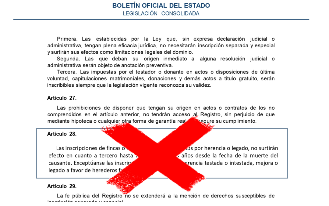 Supressió de l'article 28 de la Llei hipotecària